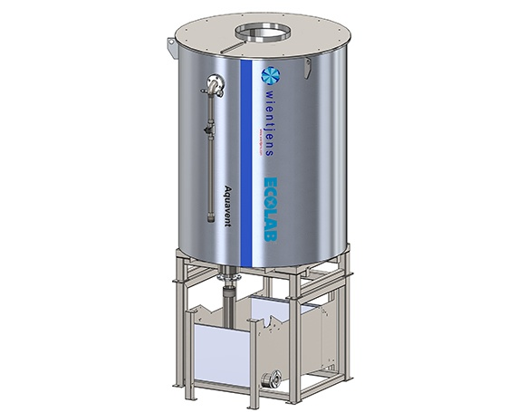 Waste water recovery system for textile laundries. Aqua Vent from Wientjens, specialized equipment for the industrial laundry industry.