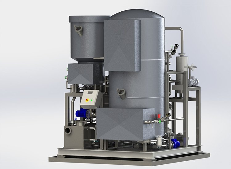 VD-1600 solvent distiller from Wientjens, Netherlands. Stable capacity and low maintenance still for industrial dry cleaners or skin tanneries. Distills Perc or k4. Vacuum distiller.