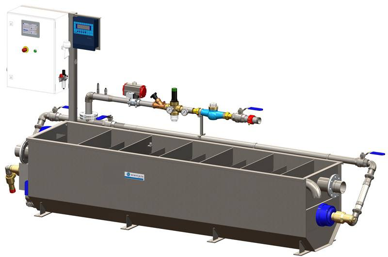 Wientjens Eop Energy Optimizer Plus for laundry waste water management. manage quality of waste process water and recover energy from waste water before discharge. Industrial laundry. Commercial laundries. Wientjens, Milsbeek, the Netherlands. Partner of Ecolab and Christeyns.